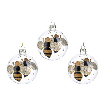Bumble Bee Bauble - Set of 3 - Black/Gold