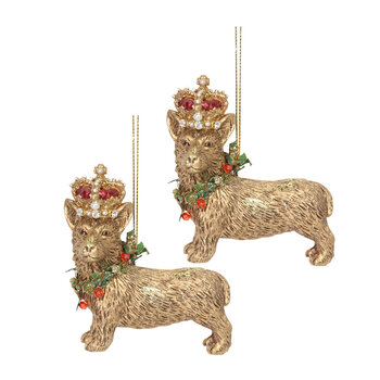 Corgi with Crown Tree Decoration - Set of 2 - Gold
