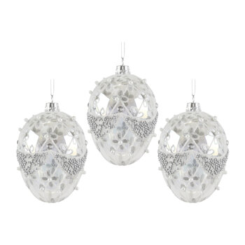 Egg with Trellis/Swag Tree Decoration - Set of 3 - Silver