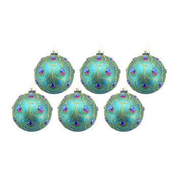 Peacock Feather Scalloped Bauble - Set of 6
