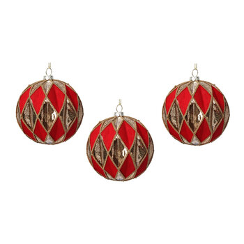 Harlequin Glass Bauble - Set of 3 - Red/Gold