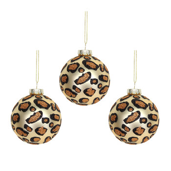 Matt Gold Leopard Print Baubles - Set of 3