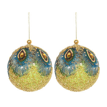 Beaded Fabric Peacock Bauble - Set of 2