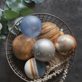 Planet Look Bauble - Set of 3 - Dark Blue