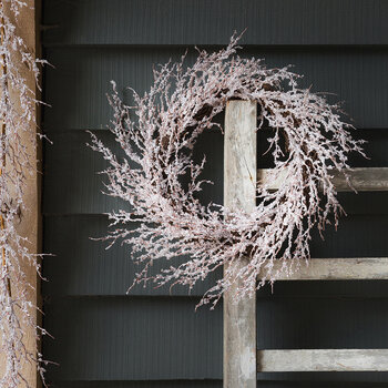 Glitter Iced Twig Wreath - White