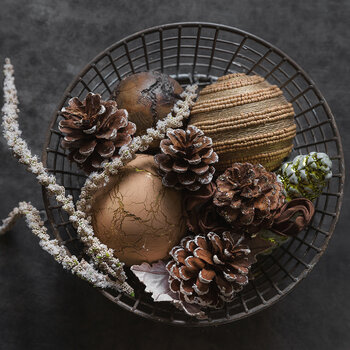Frosted Pine Cone Tree Decoration - Set of 3