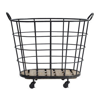 Downtown Iron Basket with Wheels - Black