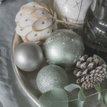 Set of 30 Assorted Baubles - Sage Green