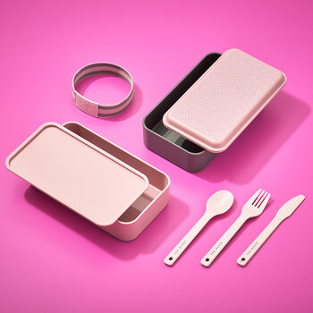 Lunch Stack & Cutlery Set - Dusty Pink