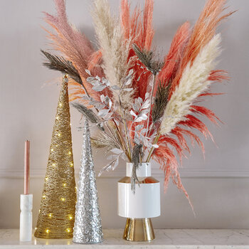 Glitter Artificial Pine Spray - Silver