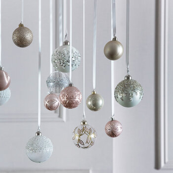 Set of 30 Assorted Baubles - Pearl