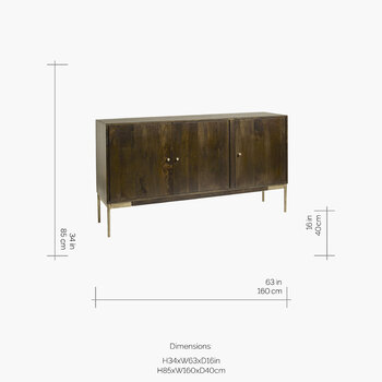 3 Section Buffet Table - Dark Wood