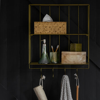 Wall Shelves With Hooks - 2 Tier