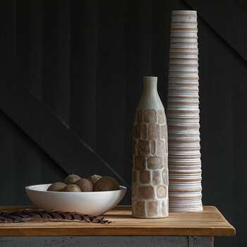 Tall Ribbed Wooden Vase