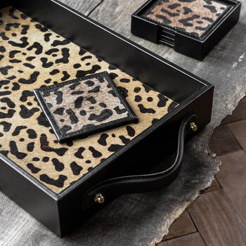 Leopard Suede Coaster - Set of 4