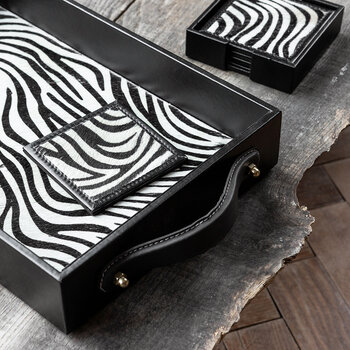 Zebra Suede Coaster - Set of 4