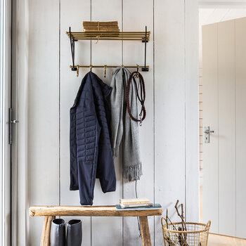 Towel Rail With Hooks - Brass