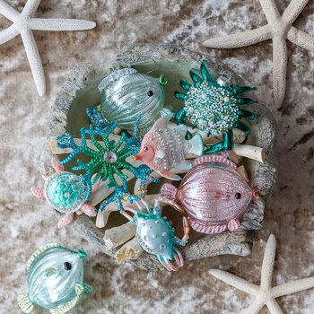 Glitter Coral Snowflake - Set of 3 - Blue