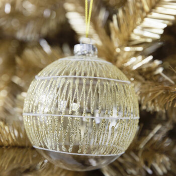 Glitter Geo Stripe Bauble - Set of 4 - Gold