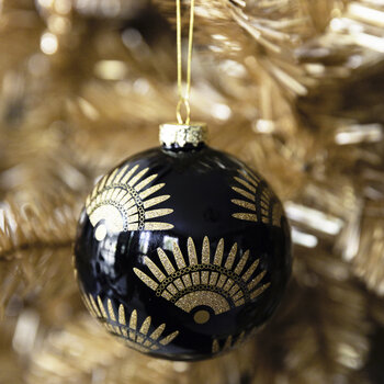Deco Fans Glass Bauble - Set of 6 - Black/Gold