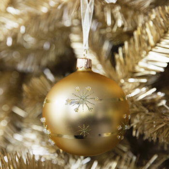 Etched Star Gold Bauble - Set of 6