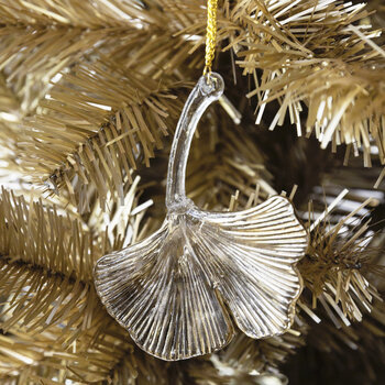 Ginkgo Leaf Tree Decoration - Set of 2 - Clear/Gold