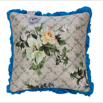 Osaka Floral Reversible Cushion - Green/Electric Blue