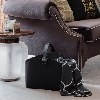 Leather Storage Basket With Handle - Black Weave