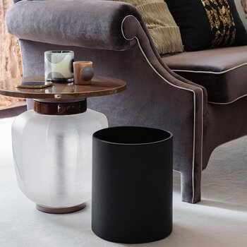 Round Faux Leather Waste Bin - Black Weave