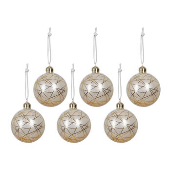 Geo Lines Bauble - Set of 6 - Gold/White