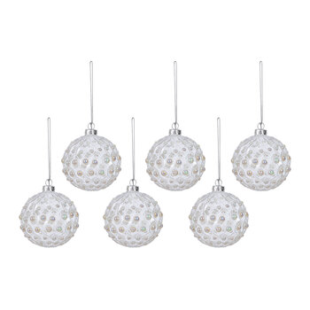 Geo Pearl Glass Bauble - Set of 6