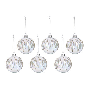 Iridescent Beaded Glass Bauble - Set of 6