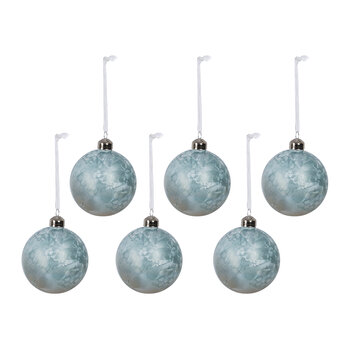 Iridescent Glass Bauble - Set of 6 - Frosted Blue