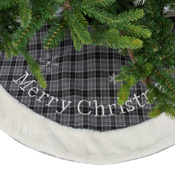 Tartan Tree Skirt with Cuff - Gray - 100cm