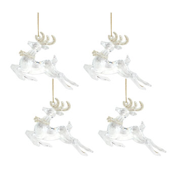 Prancing Stag with Gold Antlers Tree Decoration - Set of 4