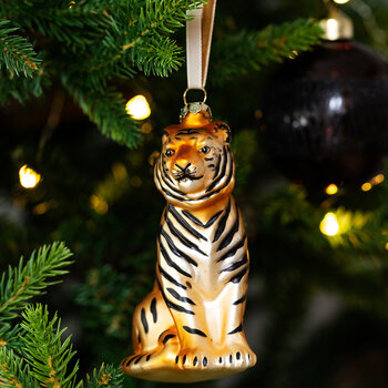 Tiger & Cheetah Glass Tree Decorations - Set of 2