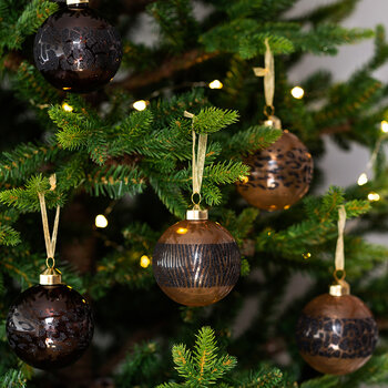 Animal Print Stripe Bauble - Set of 12 - Camel/Brown