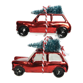 Car with Christmas Tree Decoration - Set of 2