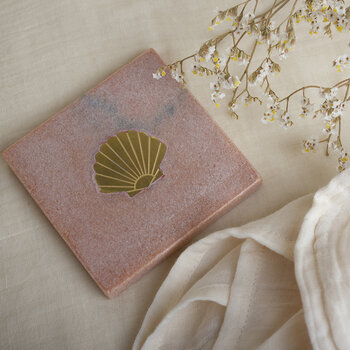 Marble Shell Coaster - Pink