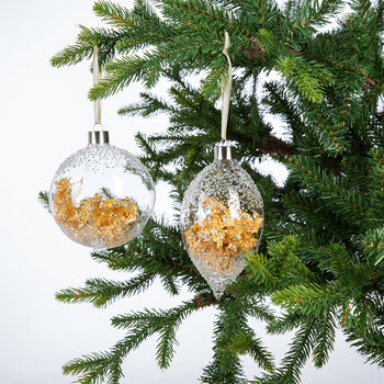 Clear Glass Gold Leaf Bauble - Set of 2