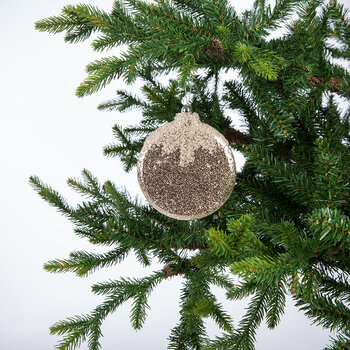 Glitter Bell/Star/Ball Tree Decorations - Set of 3 - Cream/Gold