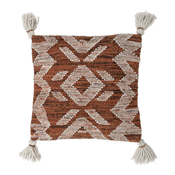 Aztec Pillow with Tassels - Brown
