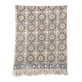 Floral Fringed Throw - Brown