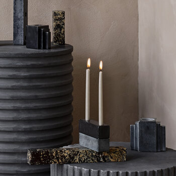 Larry Marble Candlestick - Black