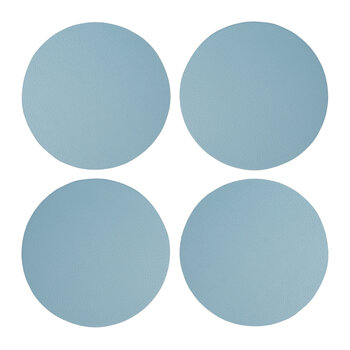 Double Sided Faux Leather Coasters - Set of 4 - Stone Blue