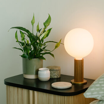 Knuckle Sphere Bulb Table Lamp - Oak