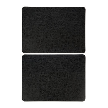Mottled Look Vegan Leather Placemat - Set of 2 - Black