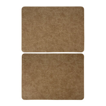 Mottled Look Vegan Leather Placemat - Set of 2 - Taupe