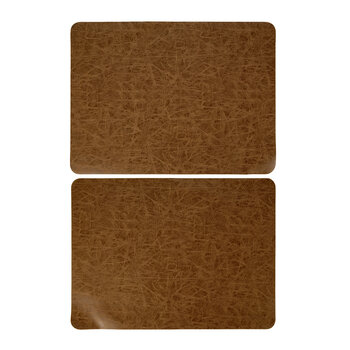 Mottled Look Vegan Leather Placemat - Set of 2 - Walnut