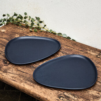 Curve Stoneware Dinner Plate - Navy Blue